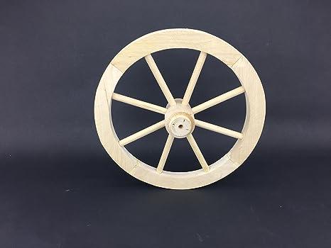 Woodeeworld Rueda de carreta pequeña, de 30 cm, de madera maciza lisa, estilo
