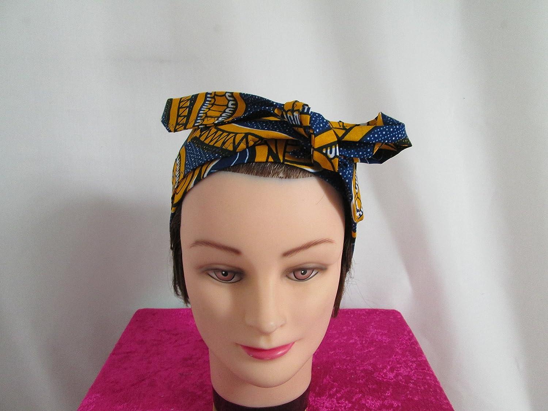 Foulard, turban chimio, bandeau pirate au féminin bleu, jaune et blanc à motif africain