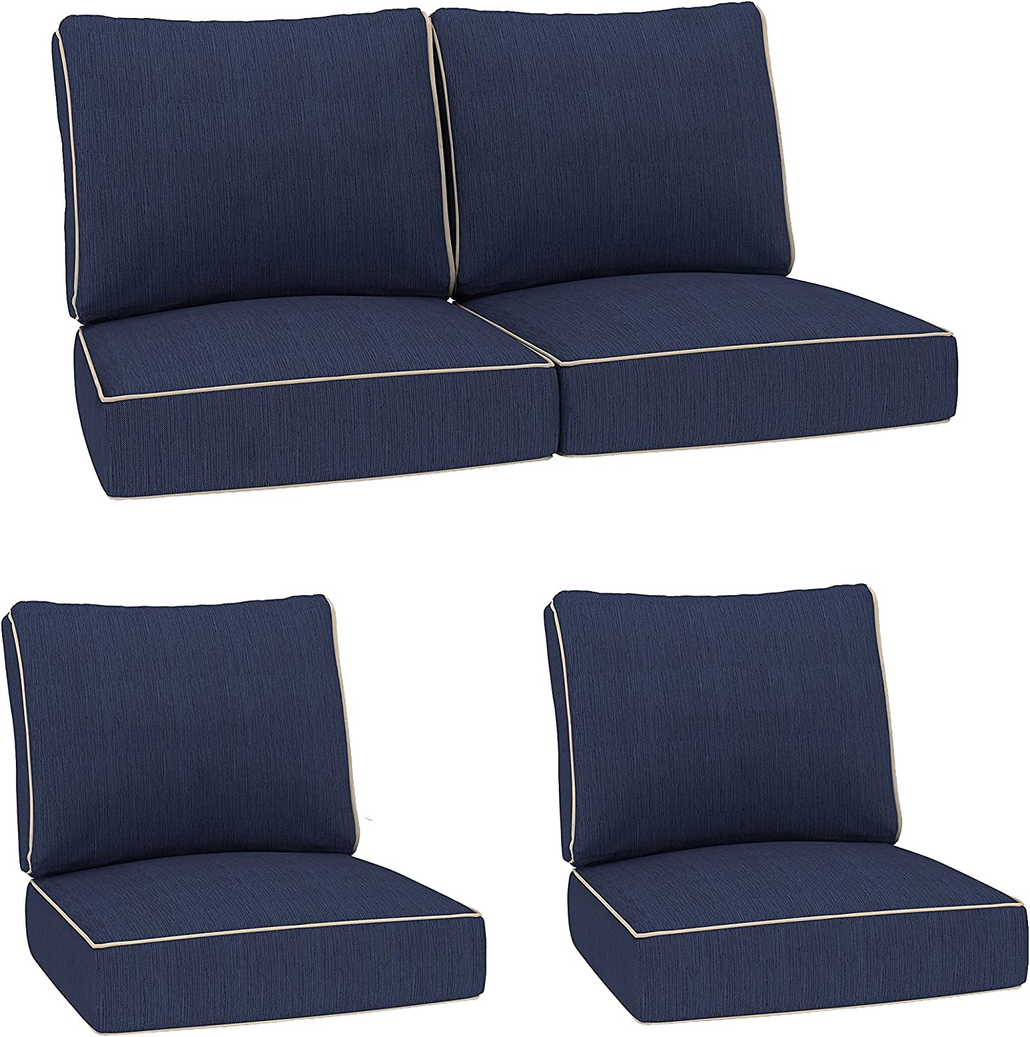 Creative Living Refresh Patio 4pc Loveseat Chat Group Deep Seating 24x24 Outdoor Replacement Cushions, Sisal Indigo