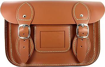 Bolso de hombro para mujer - 100% piel - Hecho en España - Disponible en colores - Estilo Satchel - Bandolera (Marrón) Compacto: Amazon.es: Equipaje