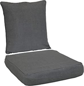 Sunnydaze Back and Seat Cushion Set for Indoor/Outdoor Furniture - 2-Piece Replacement Cushions for Deep Seating Patio Chair - Outside Pads for Porch, Deck and Garden Seats - Gray
