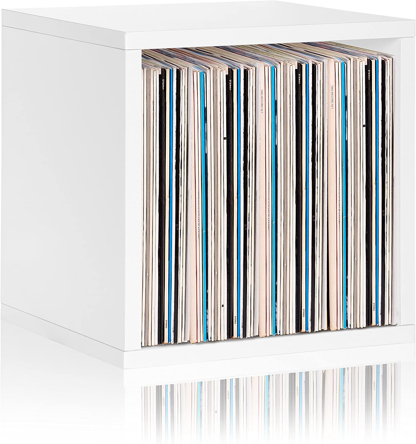 Way Basics Vinyl Record Storage Blox Cube, Organizer Shelf - Fits 65-70 LP Records (Tool-Free Assembly and Uniquely Crafted from Sustainable Non Toxic zBoard Paperboard) White