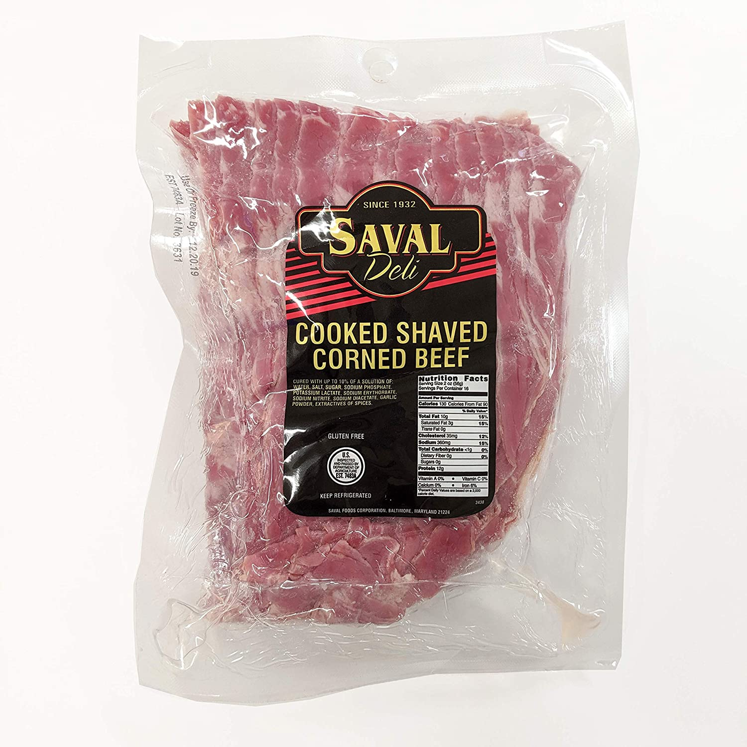 Saval Deli Cooked Shaved Corned Beef - 2 lbs.