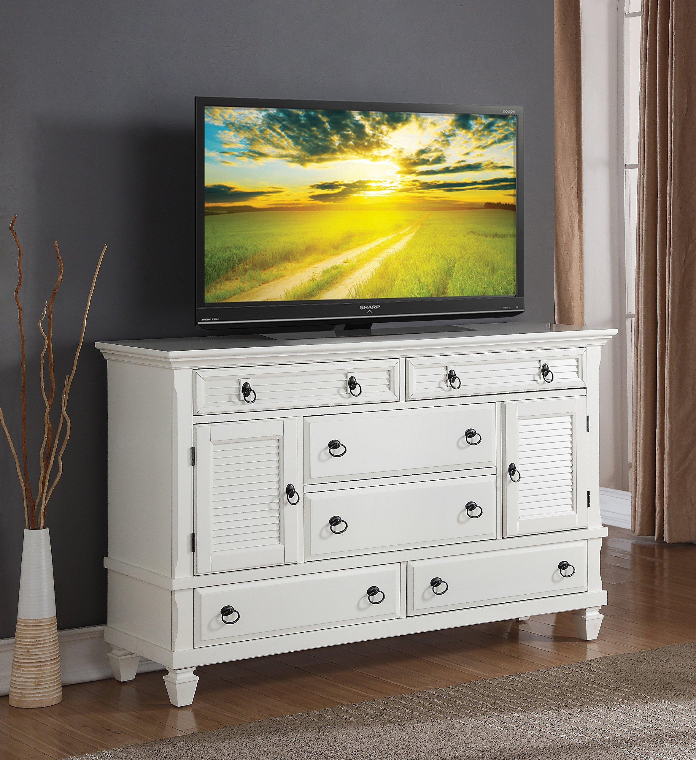 Roundhill Furniture Regitina 016 Bedroom Dresser, Queen/King, White