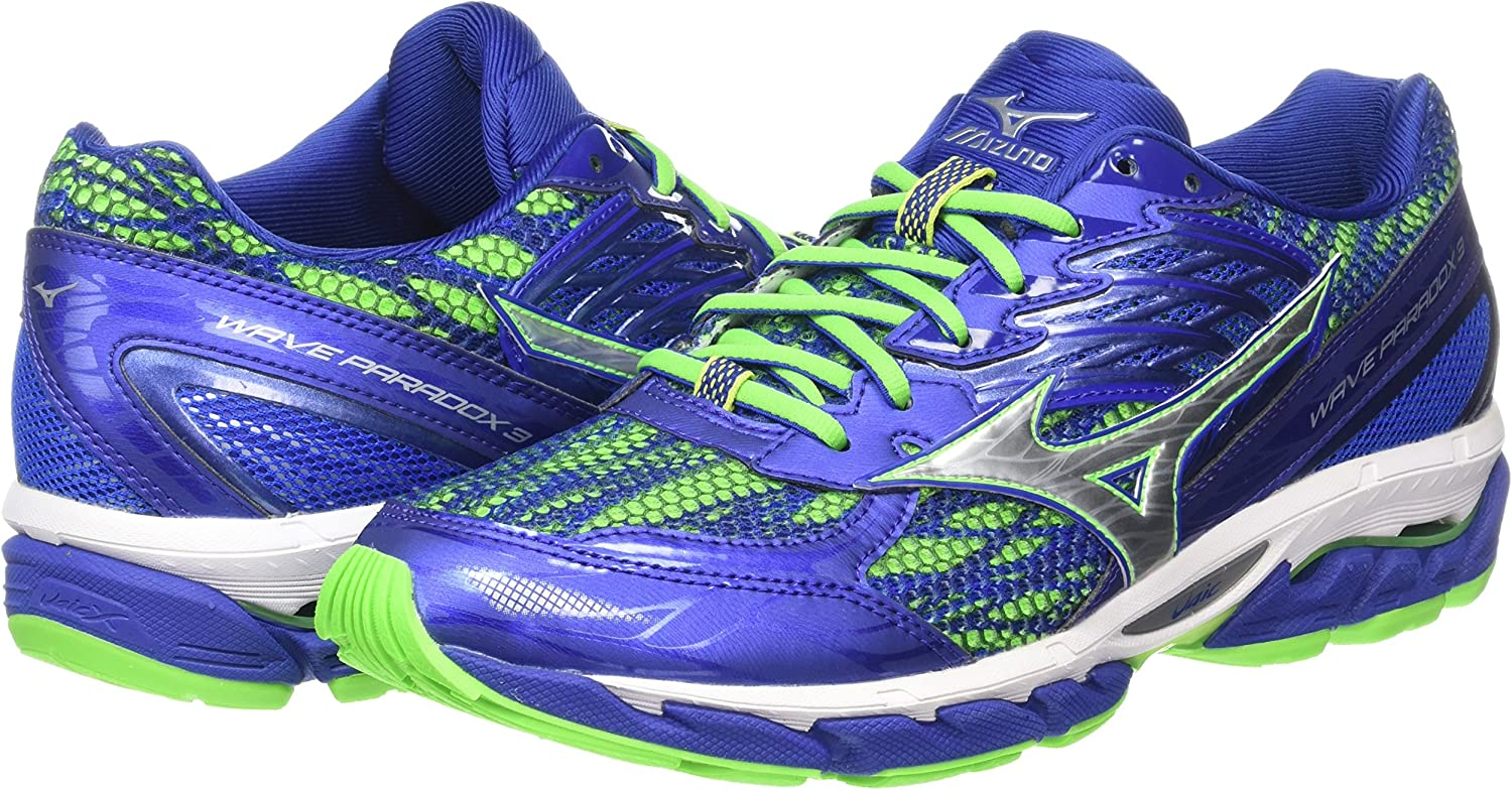 Mizuno Wave Paradox 3, Zapatillas de Running para Hombre, Azul (Surf The Web/Silver/Green Gecko), 6.5 UK 40 EU: Amazon.es: Zapatos y complementos
