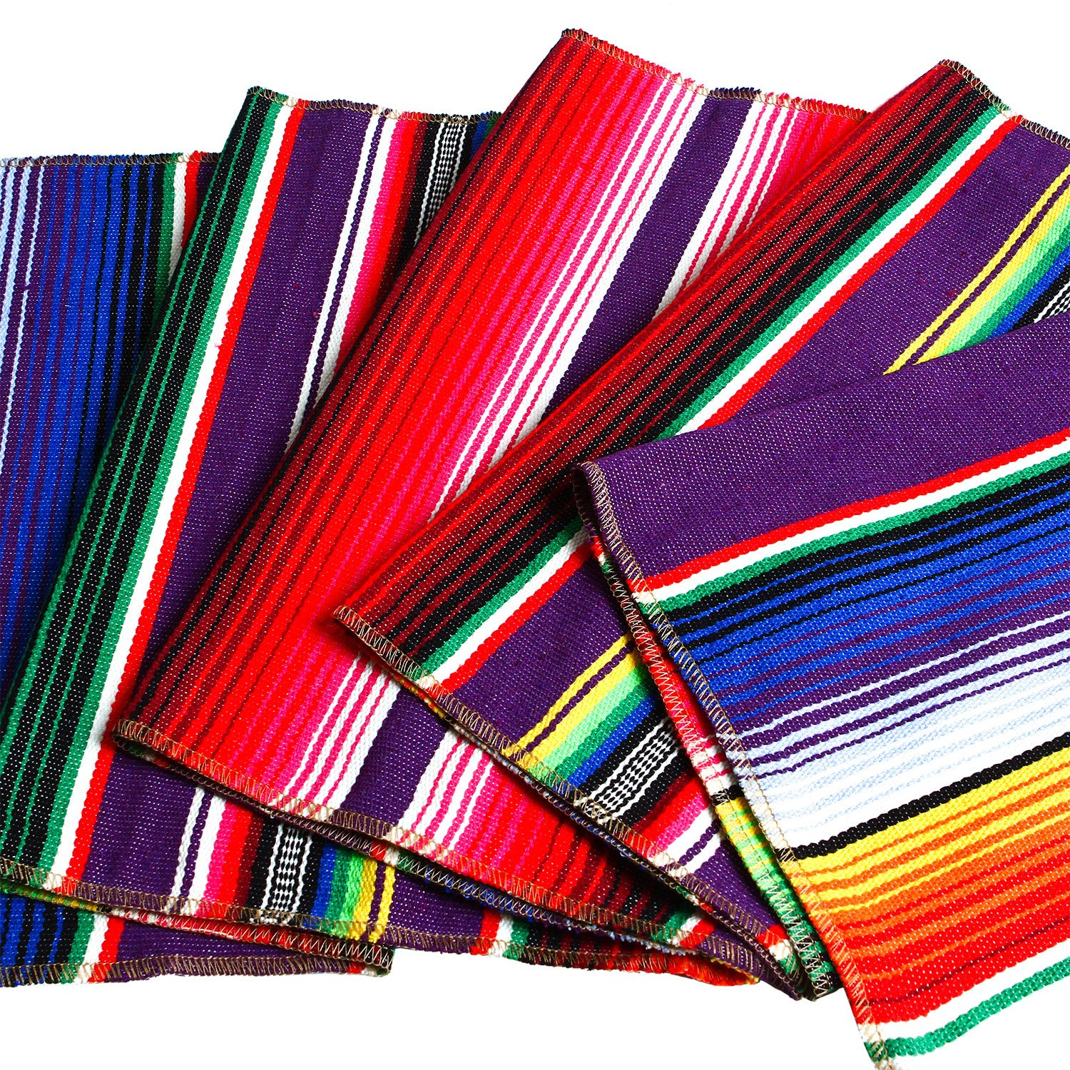 Aneco 2 Pack 14 by 84 Inch Mexican Table Runner Mexican Serape Blanket Cotton Colorful Fringe Table Runners for Mexican Party Wedding Kitchen Outdoor Decorations by Aneco (Image #2)