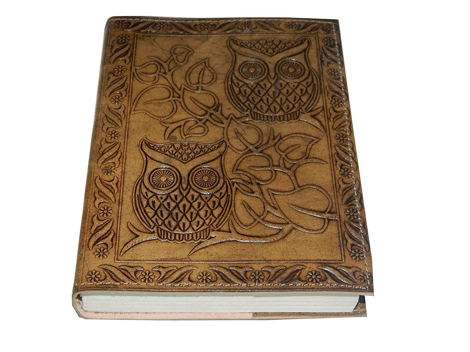 M&N Handmade Owl Embossed Leather Journal Pocket style Re-fillable 7x5 Blank Pages Tanned Color for Men and Women