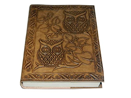 Handmade Owl Embossed Leather Journal Pocket Style Re Fillable 7x5 Blank Pages Tanned Color For