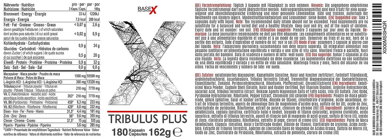 baseXnutrition, TRIBULUS PLUS, MACA, L-Arginina, Zinc, valiosa para el metabolismo Ingredientes, 180 cápsulas: Amazon.es: Salud y cuidado personal