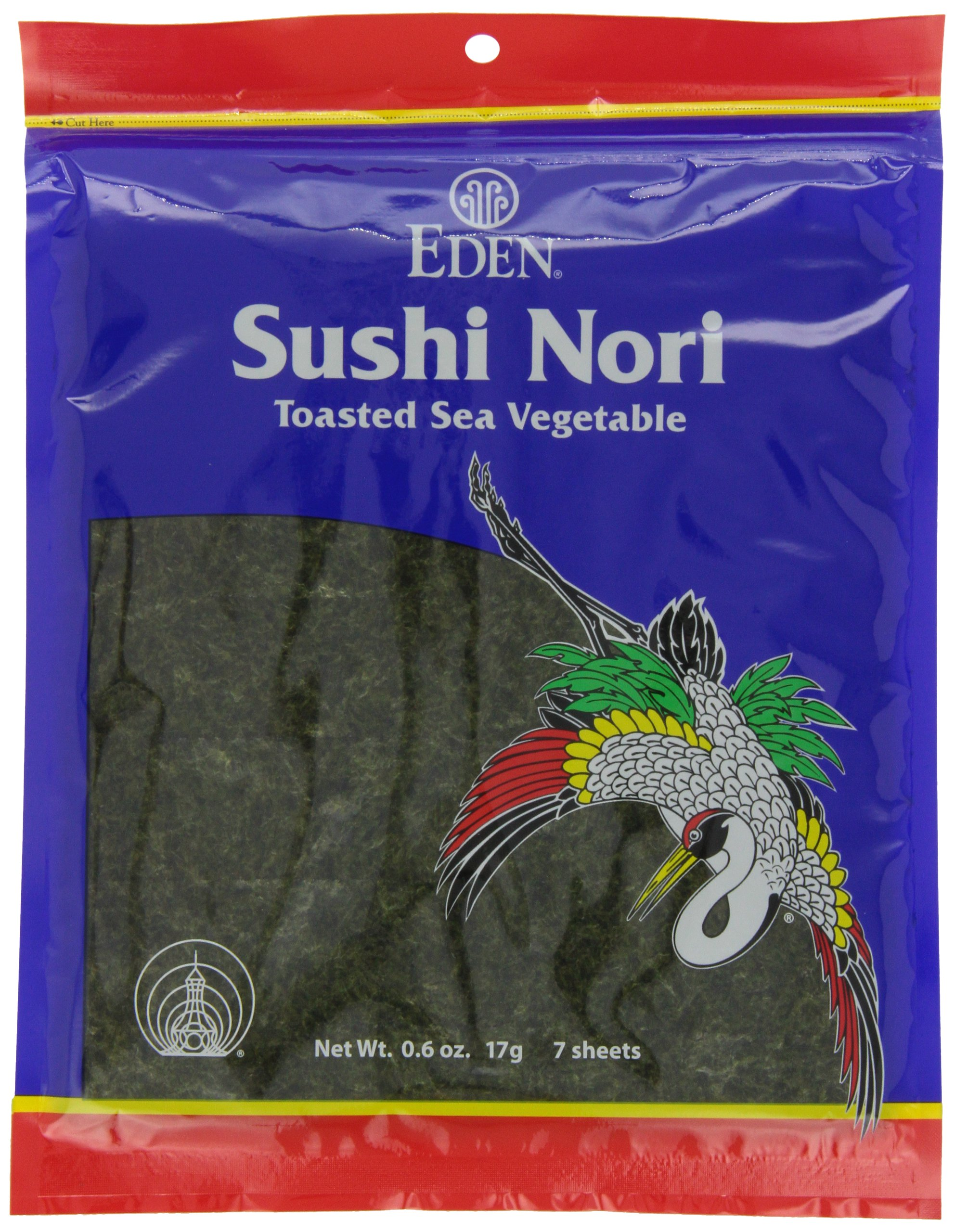 Eden Organic Sushi Nori, Toasted Cultivated, 7 Count, 0.6-Ounce Packages (Pack of 6)