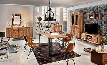 Esszimmer Tisch Mit Metall Fuß Aus Massiv Holz 180x90 Cm Recht Eckig
