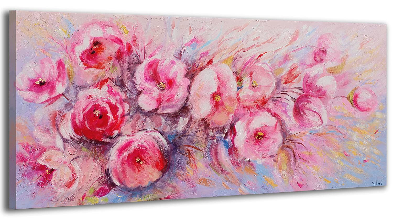 YS-Art Acryl Gemälde Sommer Blumen   Handgemalt   115x50cm   Wand Bild   Moderne Kunst   Leinwand   Unikat   Pink