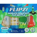 FLIPZ! The World's Greatest Flip Bottles for Bottle Flip Games! - Complete Game Set includes 4 bottles, 4 landing pads, and challenging flip game cards