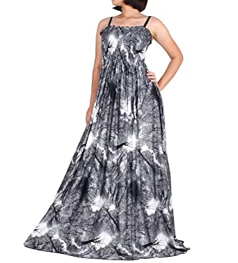 dd3072301967 Women Maxi Long Black & White Party Dress Plus Size Summer Strapy Boho  Artistic Prints (