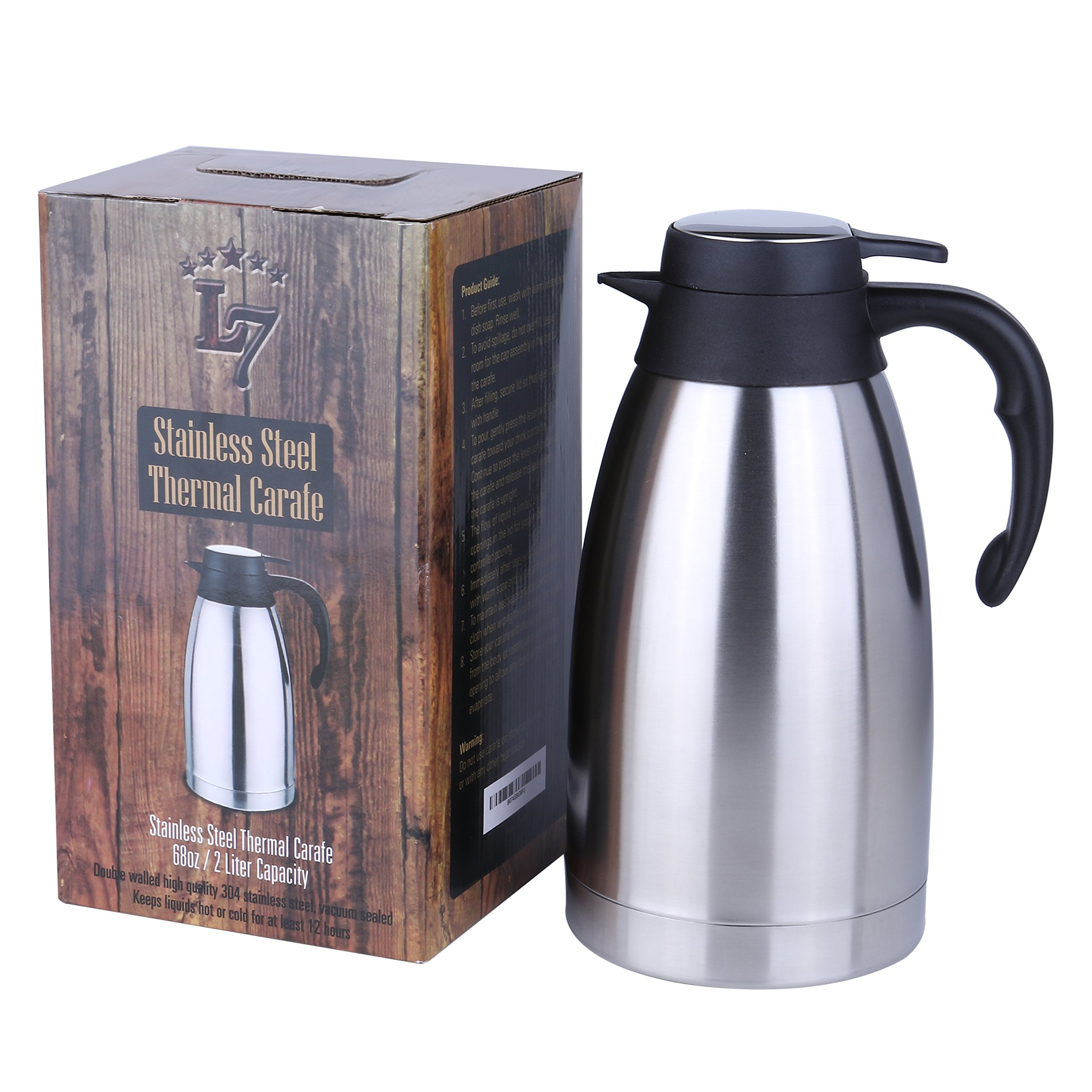 Thermal coffee carafe, coffee dispenser – Coffee thermos with lid - Coffee Carafes Keeping Hot For 12 Hours Plus – Double Walled Vacuum Sealed Coffee Pot  - 68 OZ Thermos Flask