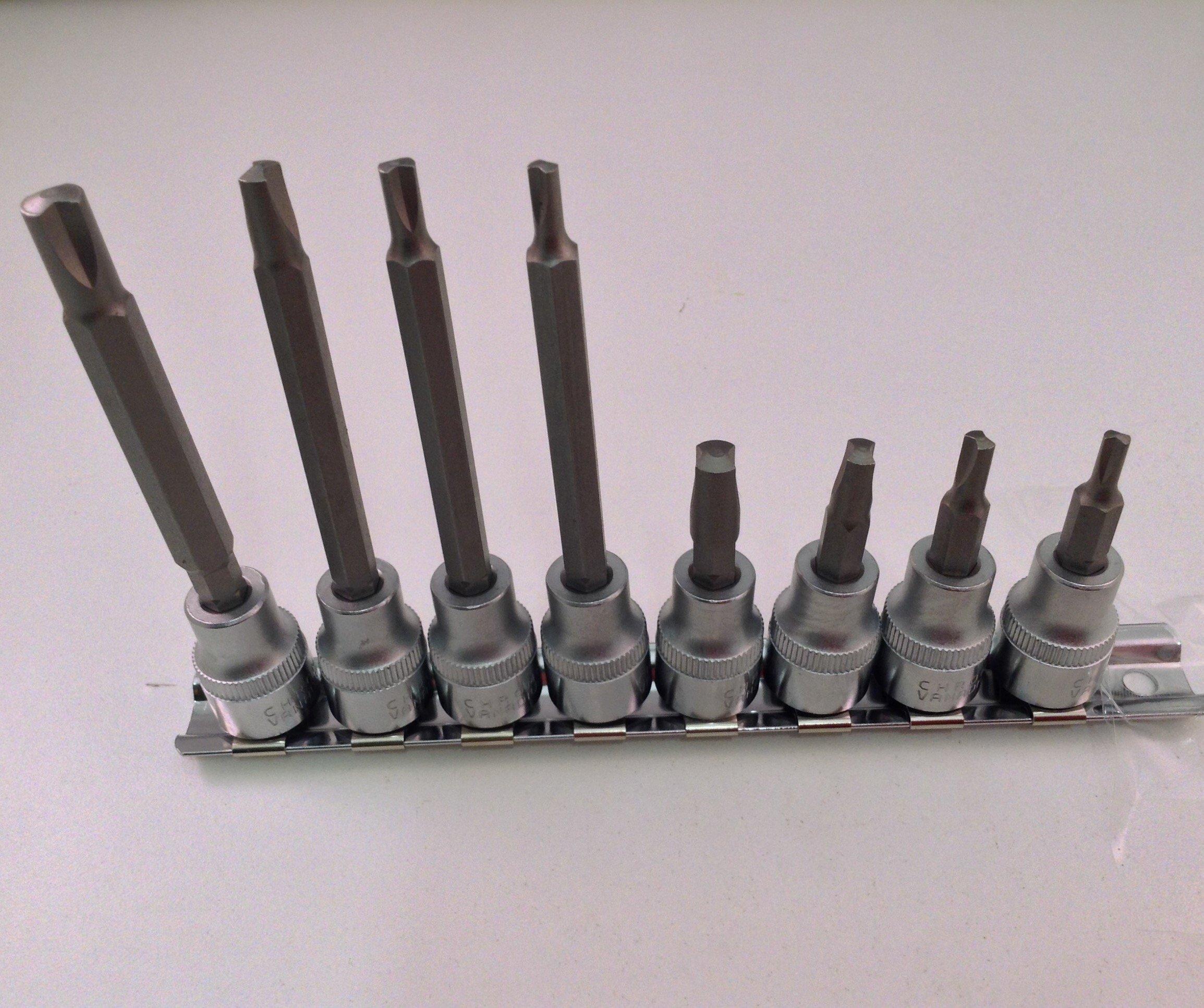 8 Pc. Clutch Head Bit Socket Set 3/8'' Drive Long & Short Shaft Bits by AK Garage