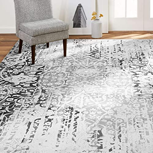Reviewed: Home Dynamix Christian Siriano New York Jersey Nevis Transitional Damask Area Rug 7'9″x10'2″ Gray/Ivory