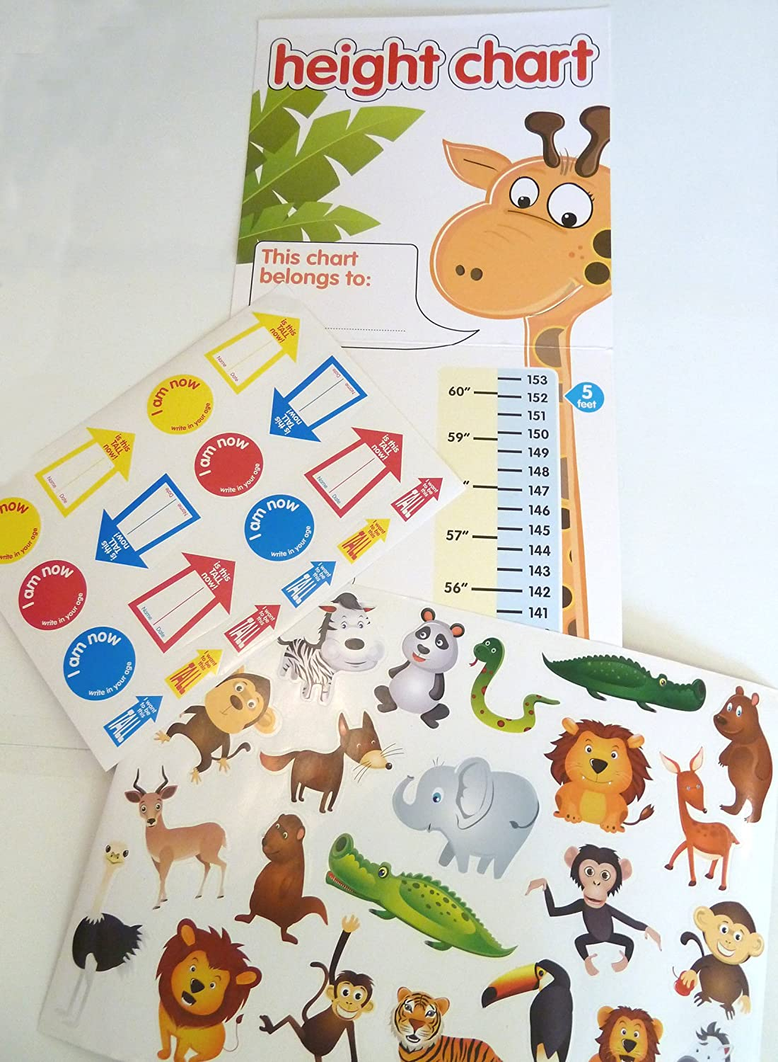 Childrens Height Chart with over 40 Stickers