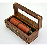 Brass Nautical Caribbean Pirate Telescope Handheld spyglass in Glass Top Wood Gift Box - 16 Inches Long