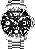 Stuhrling Original Mens Swiss Quartz Stainless Steel Professional Sport Dive Watch, Water-Resistant 200 Meters, Easy-Adjustable Bracelet, Screw Down Crown 842 Series