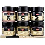 Maya Gold 6er Set (Enjoy Color) inkl. LM Pinsel --- Viva Decor Metallic Effektfarbe, Metallglanz, Effekt Farbe Metall, Bastelfarbe, Dekofarbe