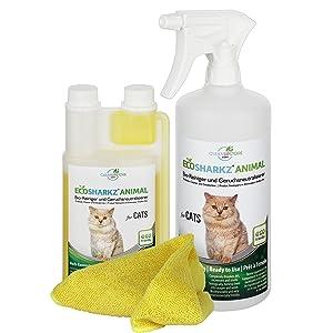 Ecosharkz Spray Probiotico Anti Urina Gatto (Neutralizzatore Elimina Odori di Pipi Animali) Antiodore per Lettiera, Superfici, Tessuti, Tappeti - 500ml x 25 Litri