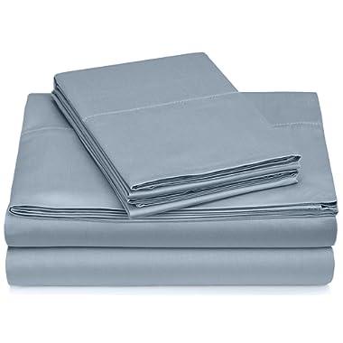 Pinzon 400-Thread-Count Egyptian Cotton Sateen Hemstitch Sheet Set - Queen, Dusty Blue