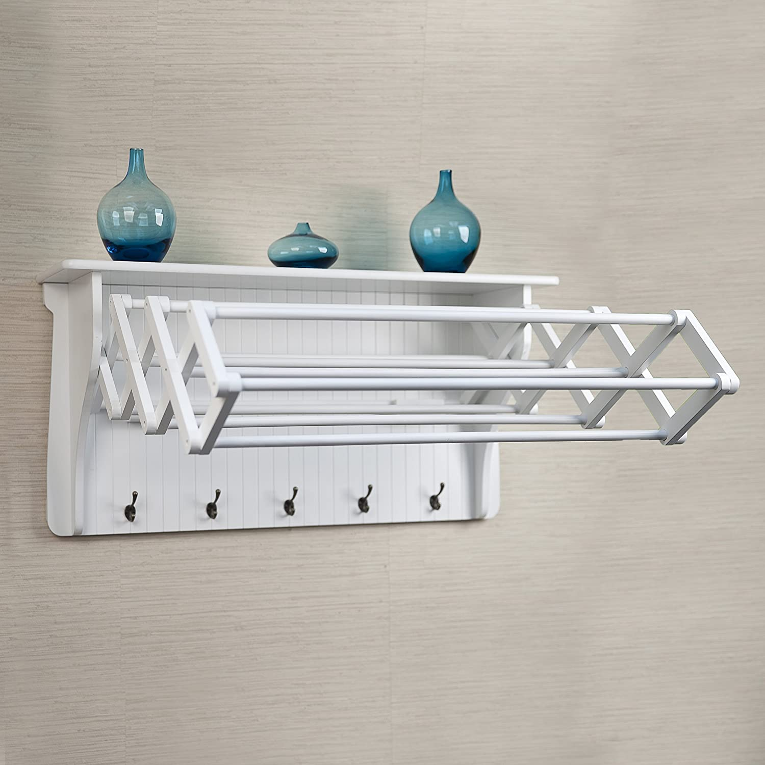 White  Wooden Accordion Wall Mounted Clothes Drying Rack With Hooks