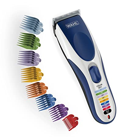 Wahl Color Pro Cordless Rechargeable Hair Clippers, Hair trimmers, 21 pieces Hair Cutting Kit, Color Coded guide combs For Women, Men, Kids and Babies By The Brand used by Professionals. 9649