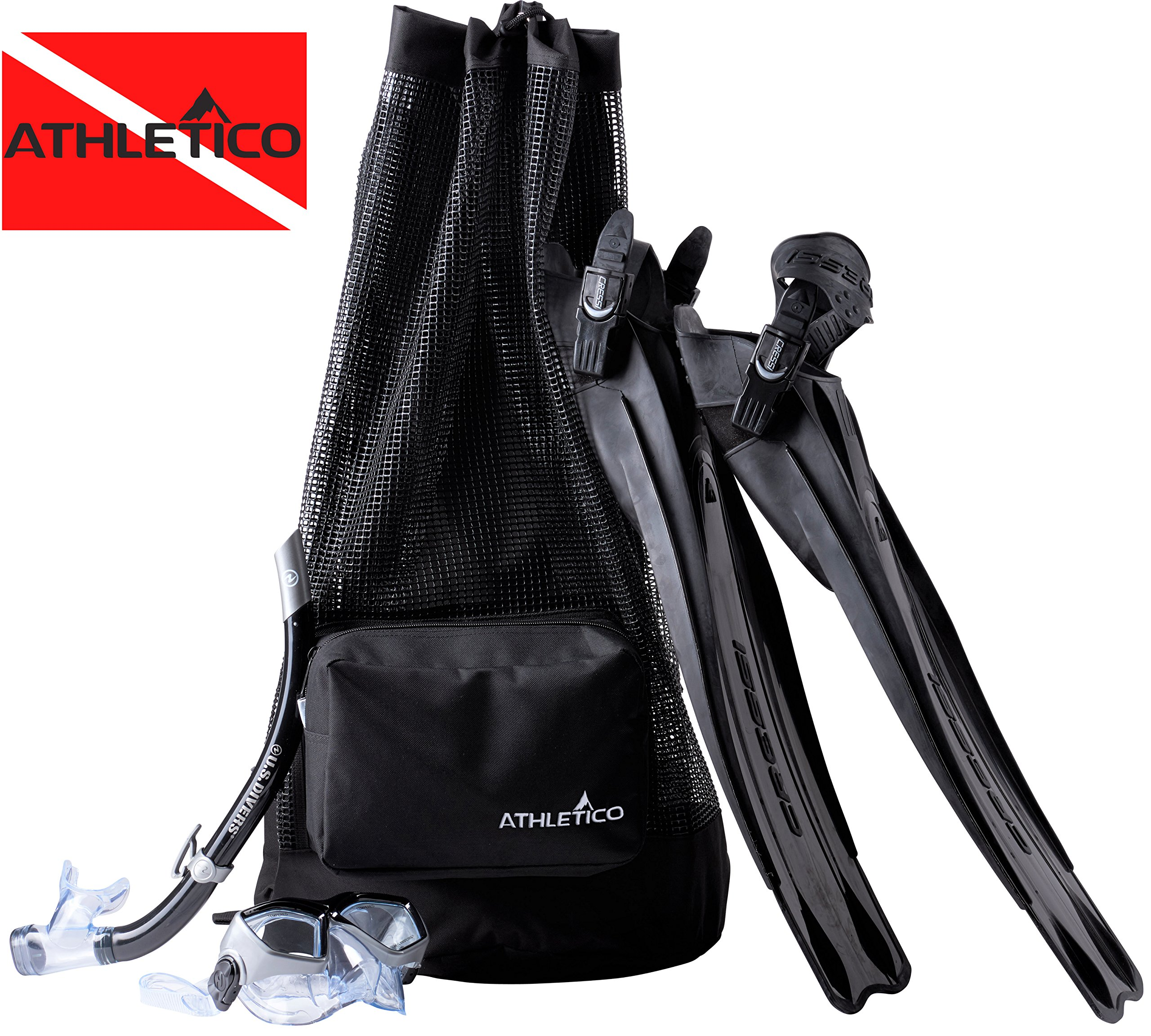 Athletico Scuba Diving Bag - XL Mesh Travel Backpack for Scuba Diving and Snorkeling Gear & Equipment - Dry Bag Holds Mask, Fins, Snorkel, and More (Black) by Athletico
