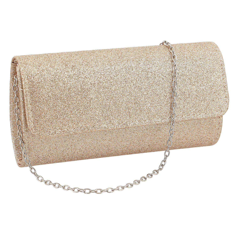 Gabrine Womens Evening Shoulder Bag Handbag Clutch Shiny Sequins for Wedding Party(Champagne)