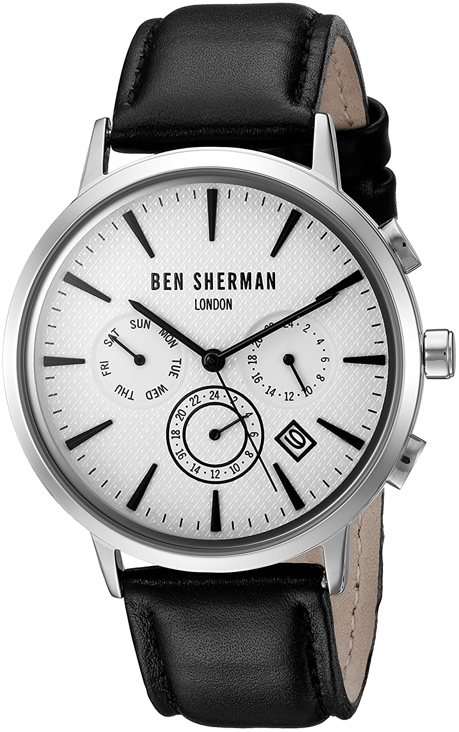 Buy Ben Sherman Men s  Portobello Professional  Quartz Stainless Steel and  Leather Watch 1b656ca289f