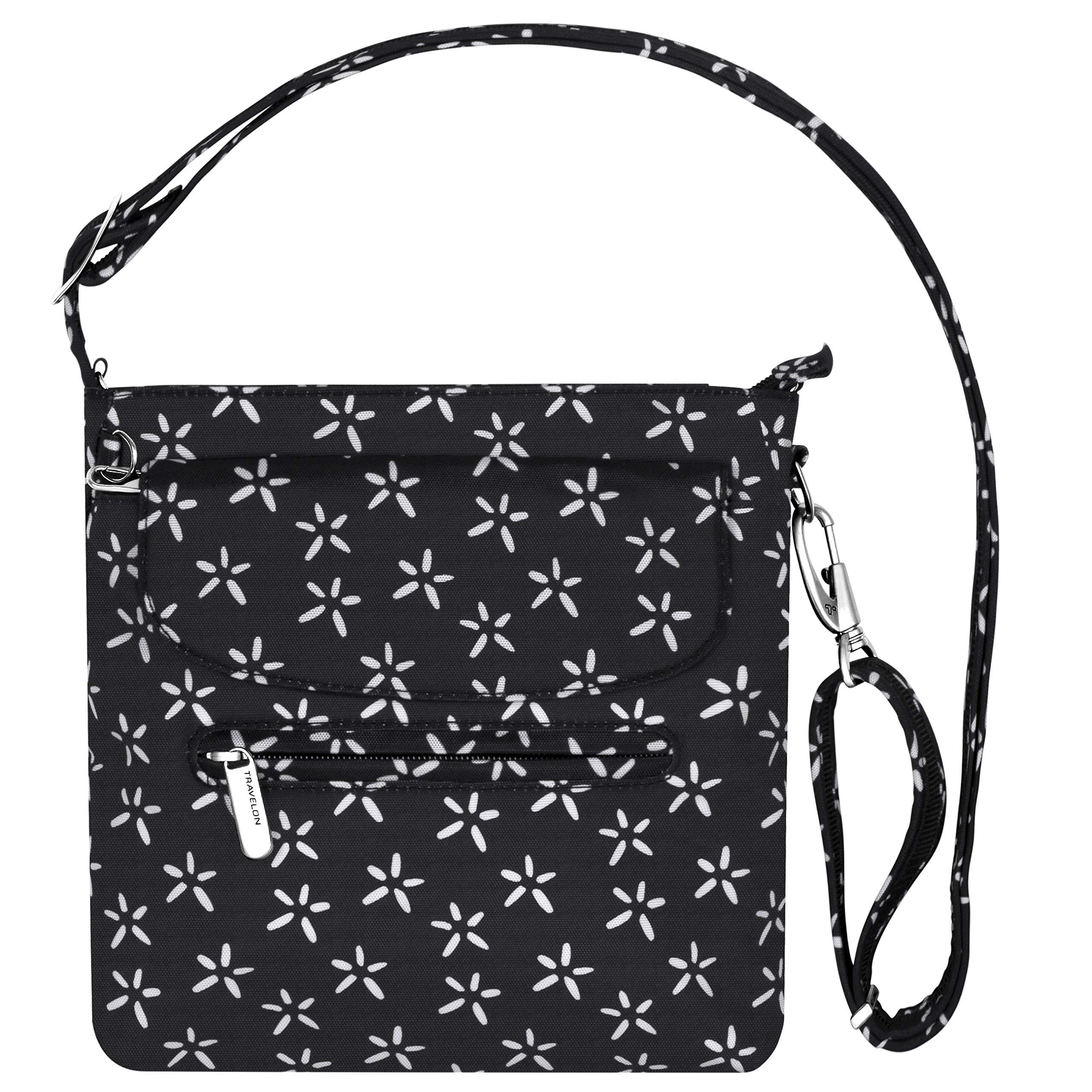 Travelon Anti-Theft Classic Mini Shoulder Bag (A B/W SMALL FLOWER PRINT)