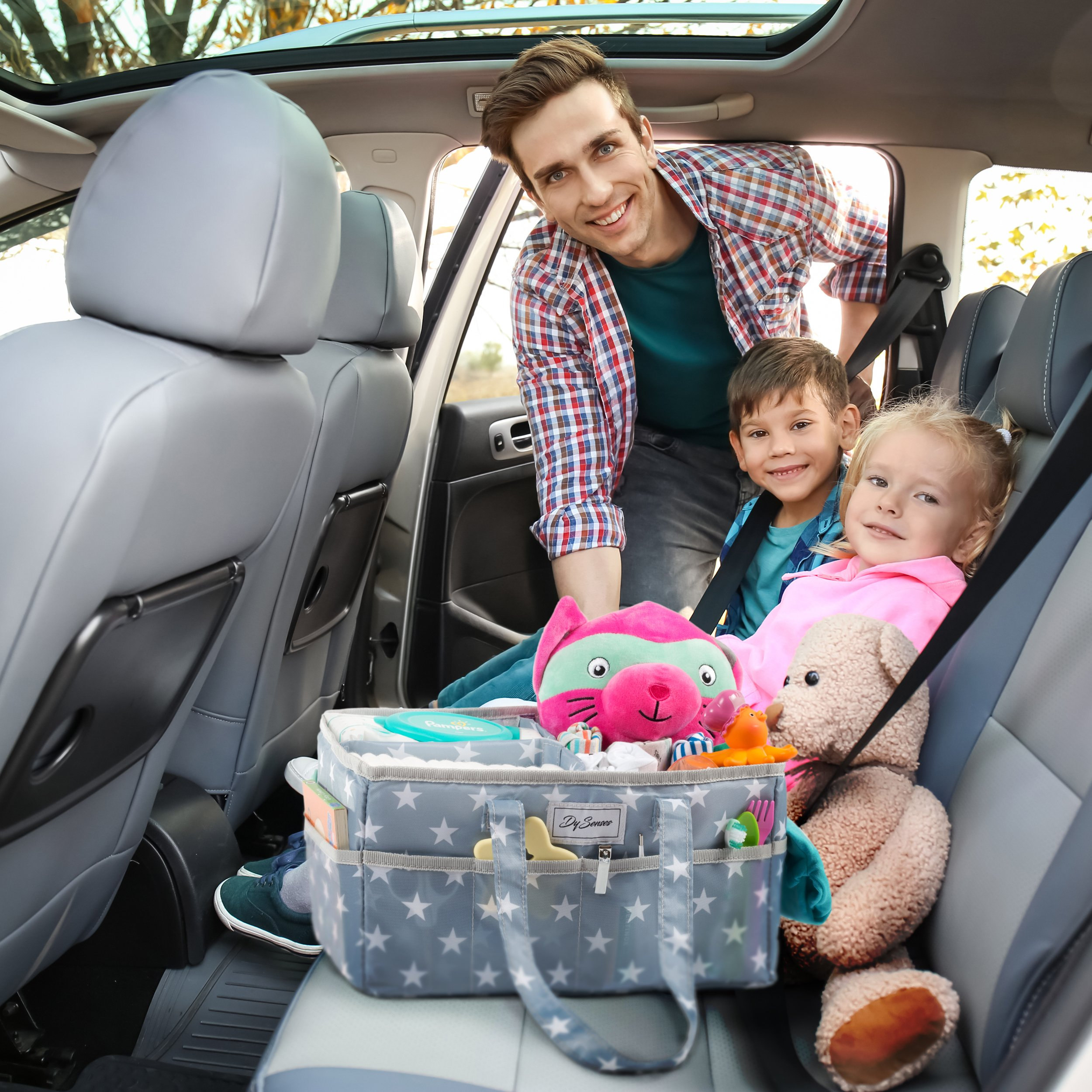 Diaper Storage Caddy Nursery Organizer | Grey Baby Diaper Caddy & Portable Changing Pad | Suitable for Car Travel Picnic & Nursing Station by DySenses (Image #3)