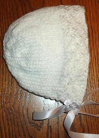 Newborn  Hand Knitted Baby Girl/'s White  Beanie Hat With White Satin Bow