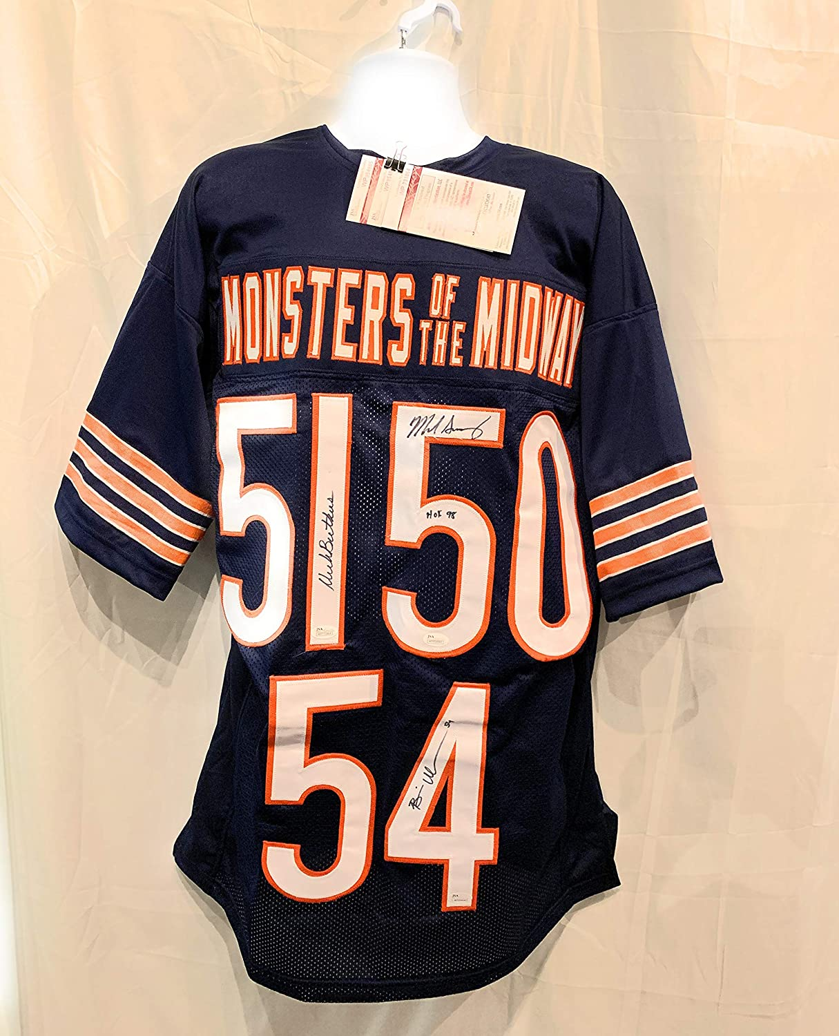 Brian Urlacher Dick Butkus Mike Singletary Chicago Bears TRIPLE Signed Autograph Custom Jersey Monsters Of The Midway JSA Witnessed Certified
