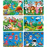 NASHRIO Kids Puzzles Set of 6 – 60 Piece Wooden Jigsaw Puzzles Toys for 3-8 Boys and Girls – Preschool Educational and Fun Th