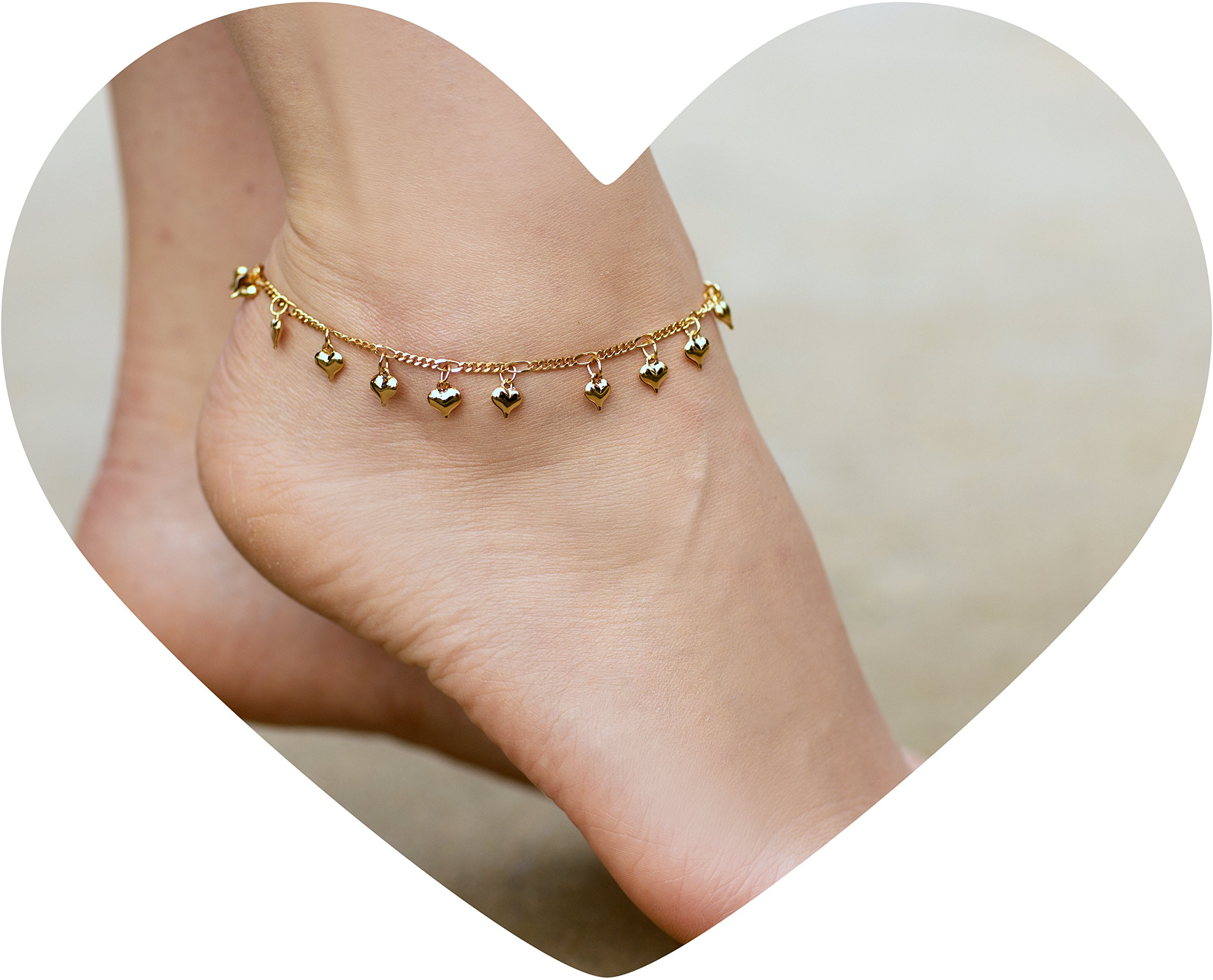 Lifetime Jewelry Anklets for Women and Teen Girls - 24K Gold Plated Chain with Dangling Hearts - Ankle Bracelet to Wear at Beach or Party - Cute Surfer Anklet - 9 10 and 11 inches (10)