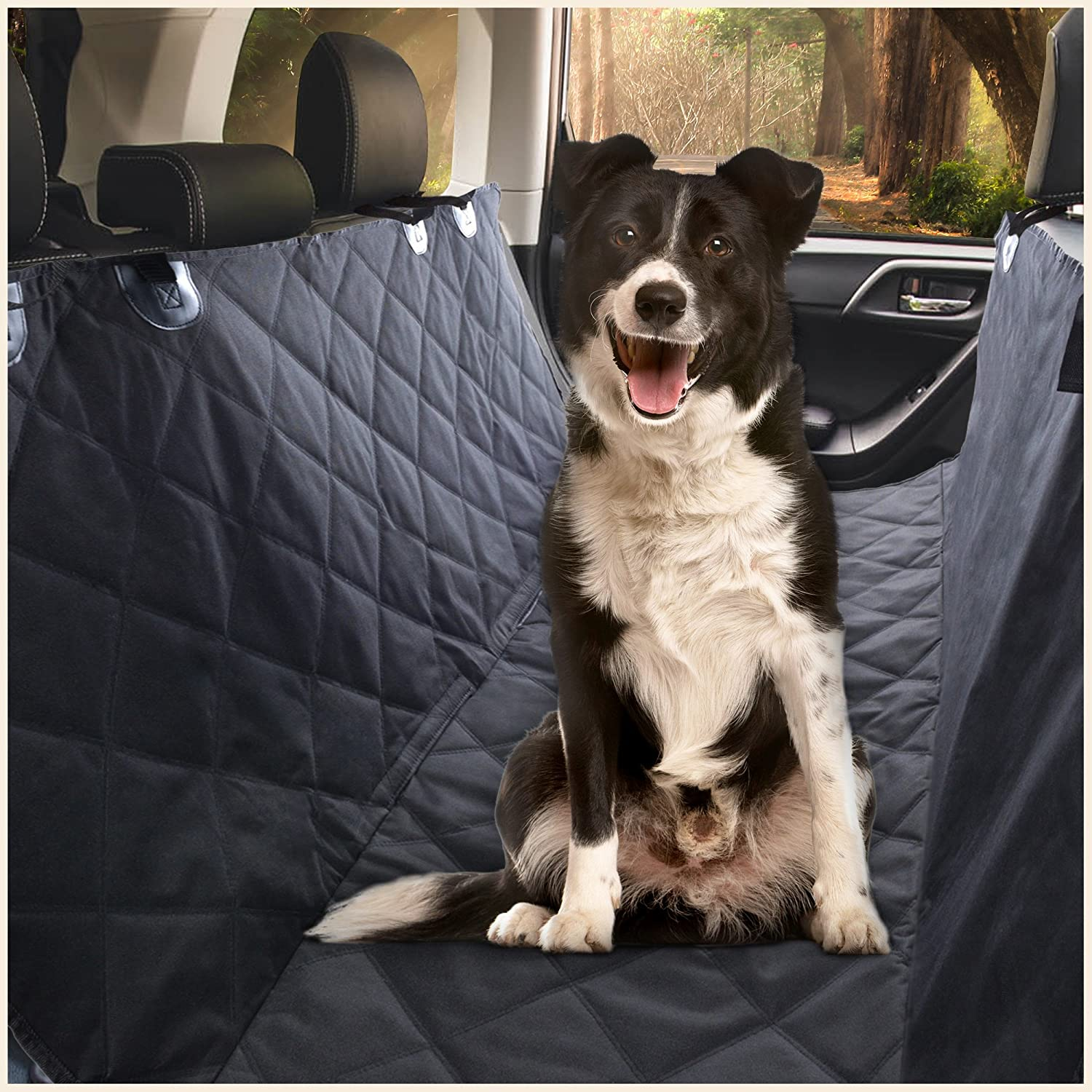 E Ess Craft Dog Hammock – Waterproof Pet Car Rear Back Seat Cover, Hammock and Standard, Quilted, Triple Layered with Seat Belt Slots, Black