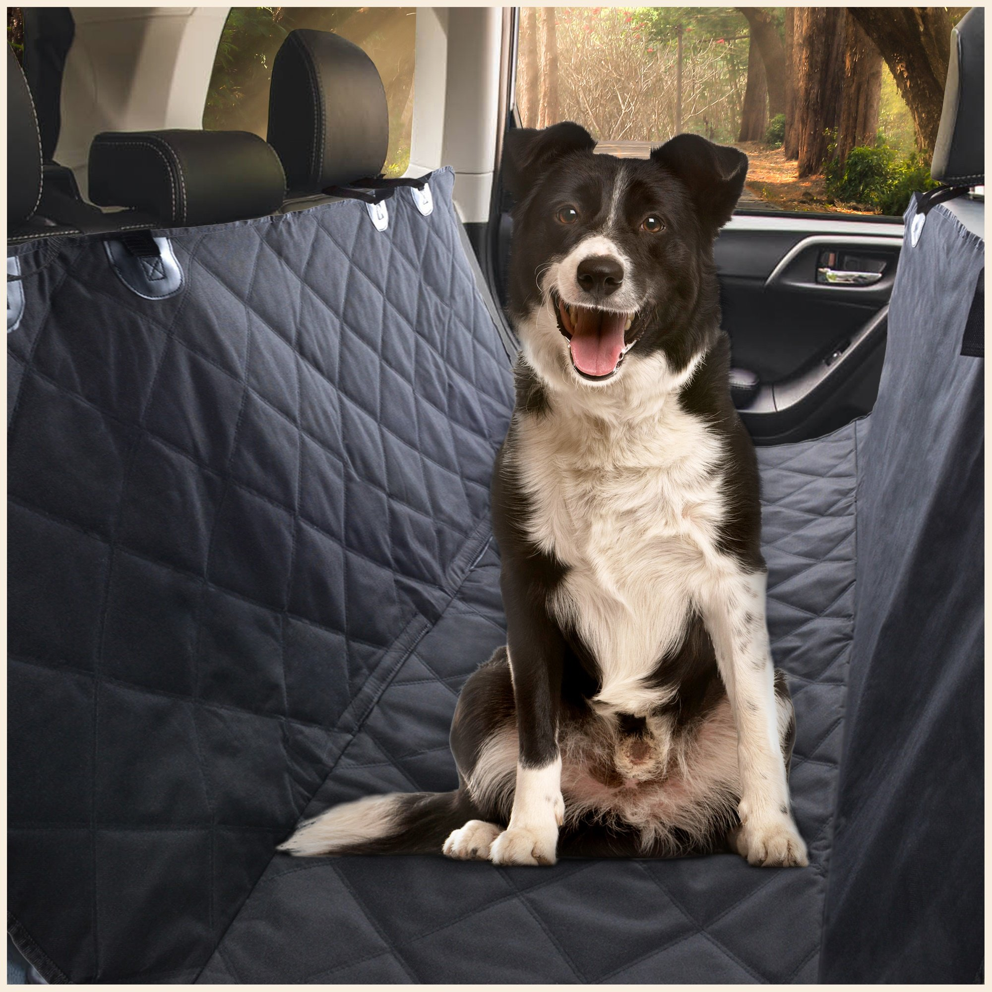 E Ess & Craft Dog Hammock - Waterproof Pet Car Rear/Back Seat Cover, Hammock and Standard, Quilted, Triple Layered with Seat Belt Slots, Black