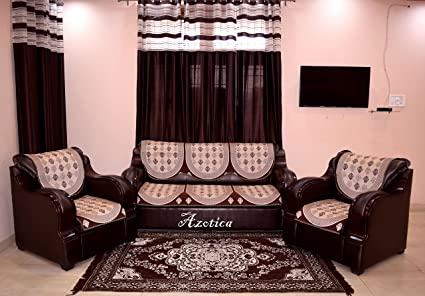 Buy Azotica 5 Seater Brown Sofa Cover Online at Low Prices in India ...