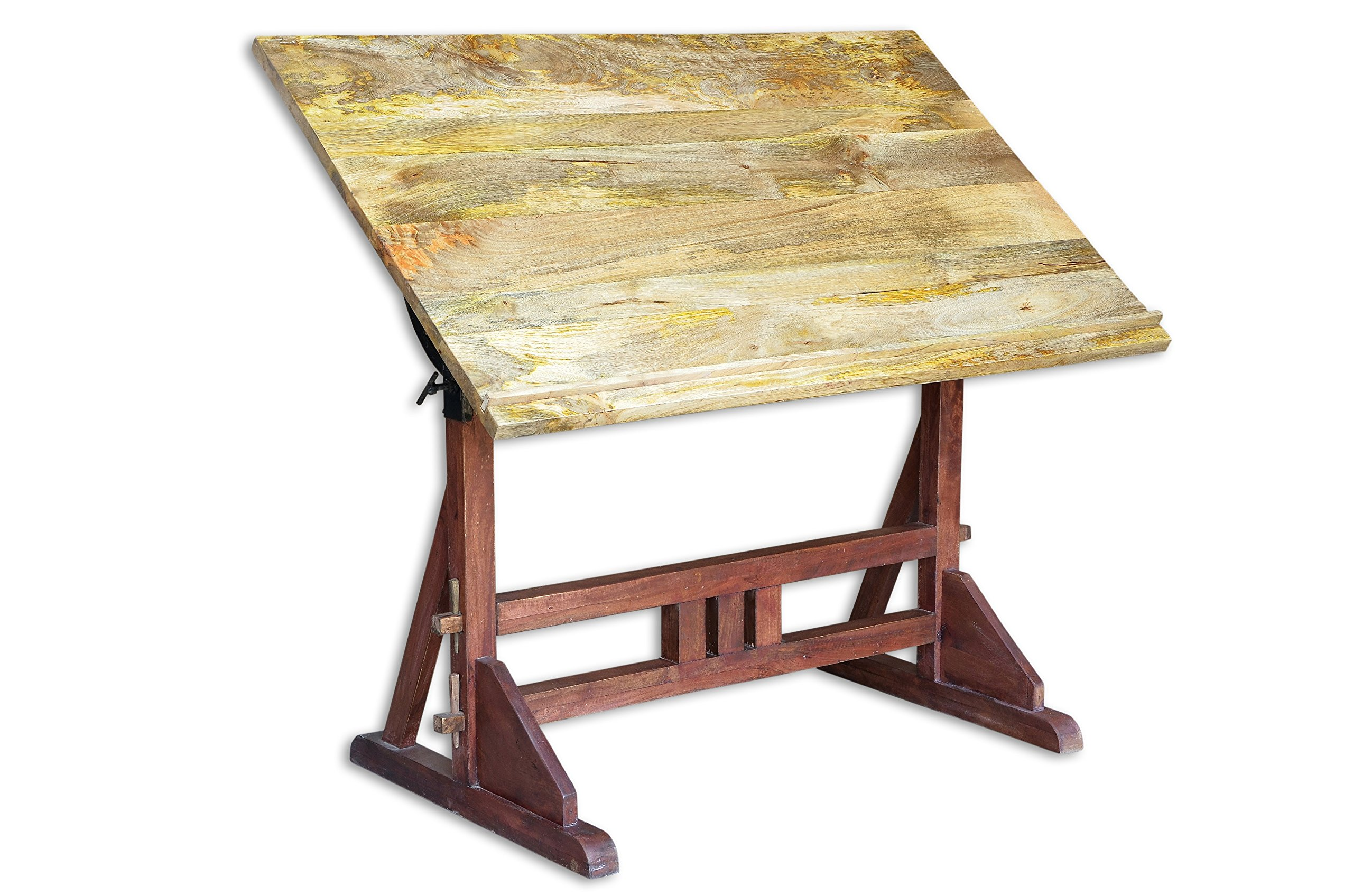 CDI FURNITURE BR1046 Industrial Draft Desk Turn in Straight Table, 52 x 38 x 24-Inch