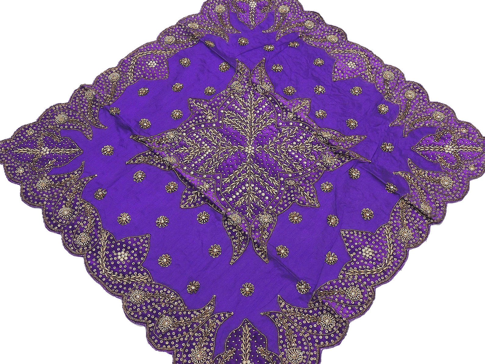 Fancy Table Linens - Purple Tablecloth Decorative Designer Gold Beaded Overlay From India ~ 40 Inch X 40 Inch