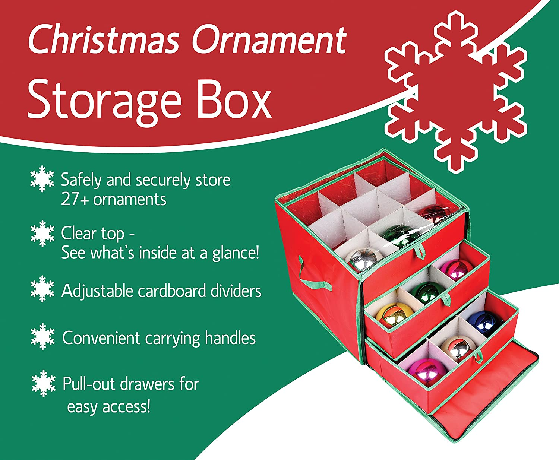 Amazoncom Seethrough Christmas Ornament Storage Box for 27