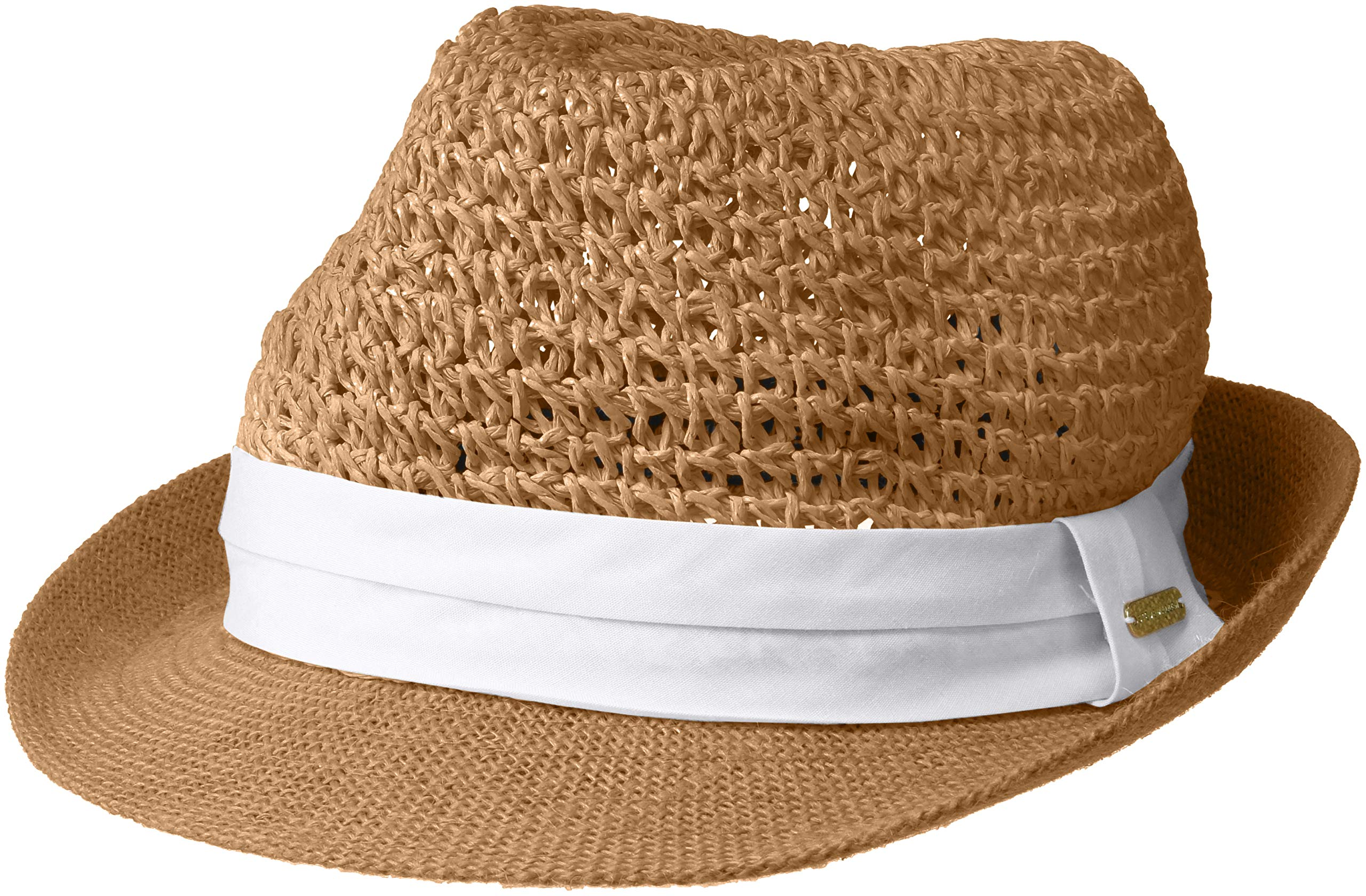 Steve Madden Women's Paper Crochet Straw Fedora with Woven Band, White, One Size