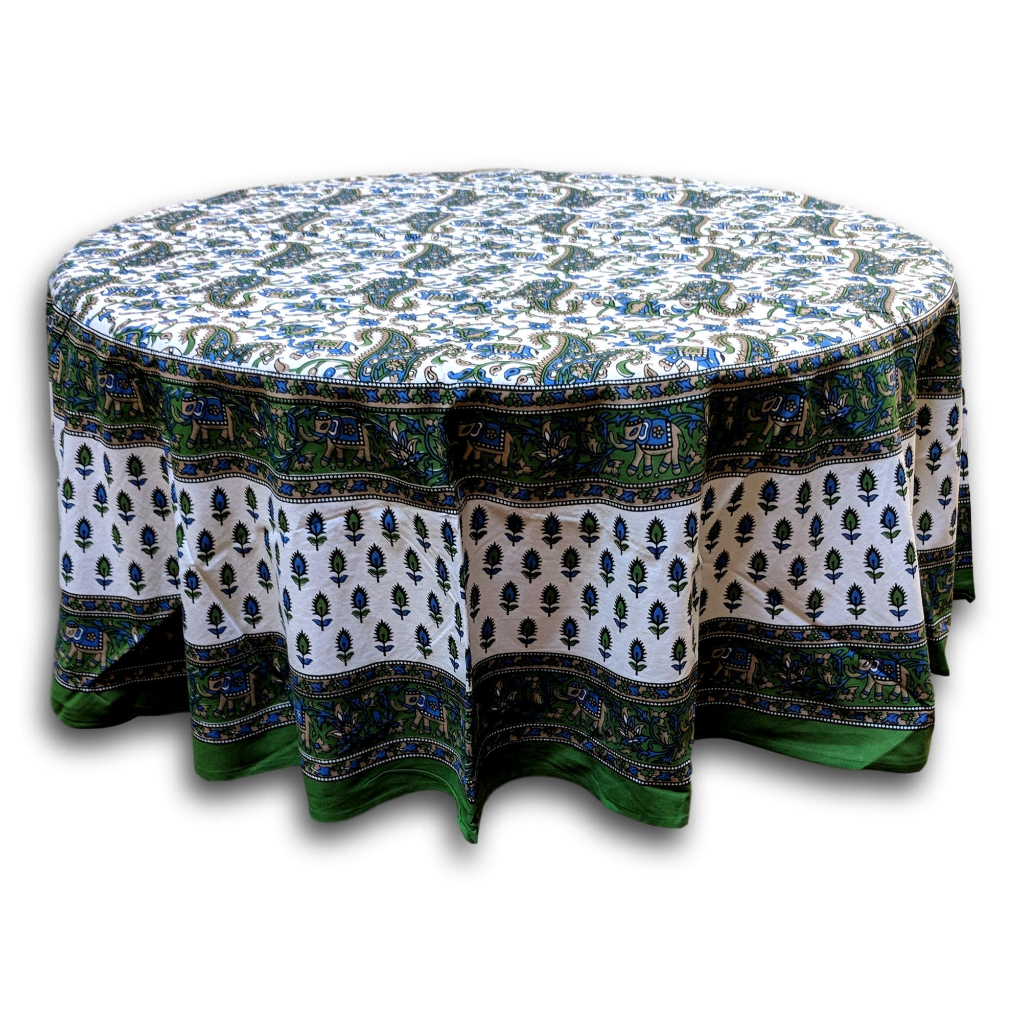 TC05501 - India Arts Tablecloth ~ Several Sizes Available ~ 100% Cotton (Jaipur Turquoise, 72'' Round)