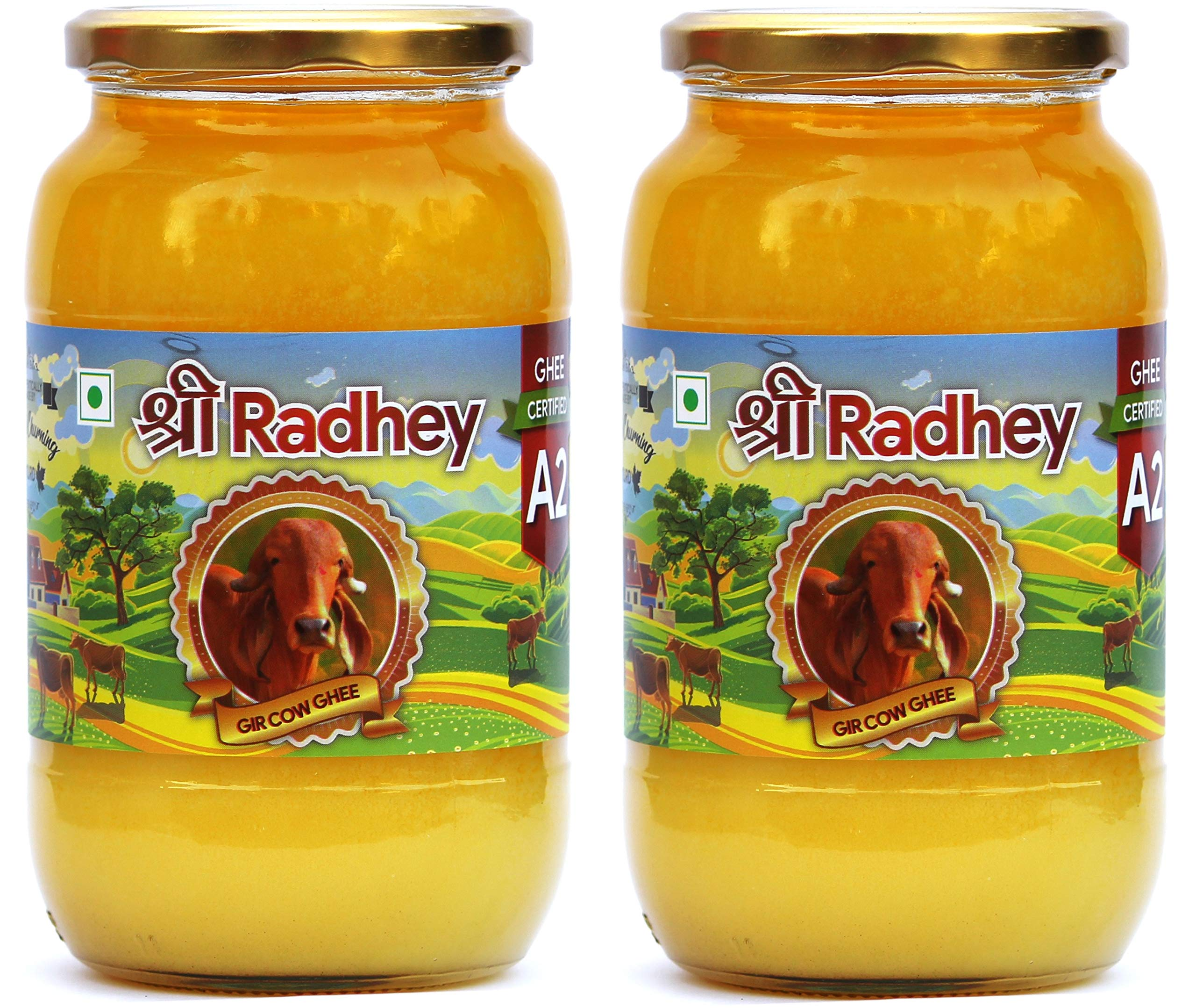 Shree Radhey Certified A2 Gir Cow Ghee - Gluten Free - (Traditionaly Hand Churned) (1000 ml X 2) by Shree Radhey (Image #1)