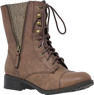 489f7b81ea9 MVE Shoes Women s Lace-up Combat Folded Cuff Riding Mid-Calf Boots