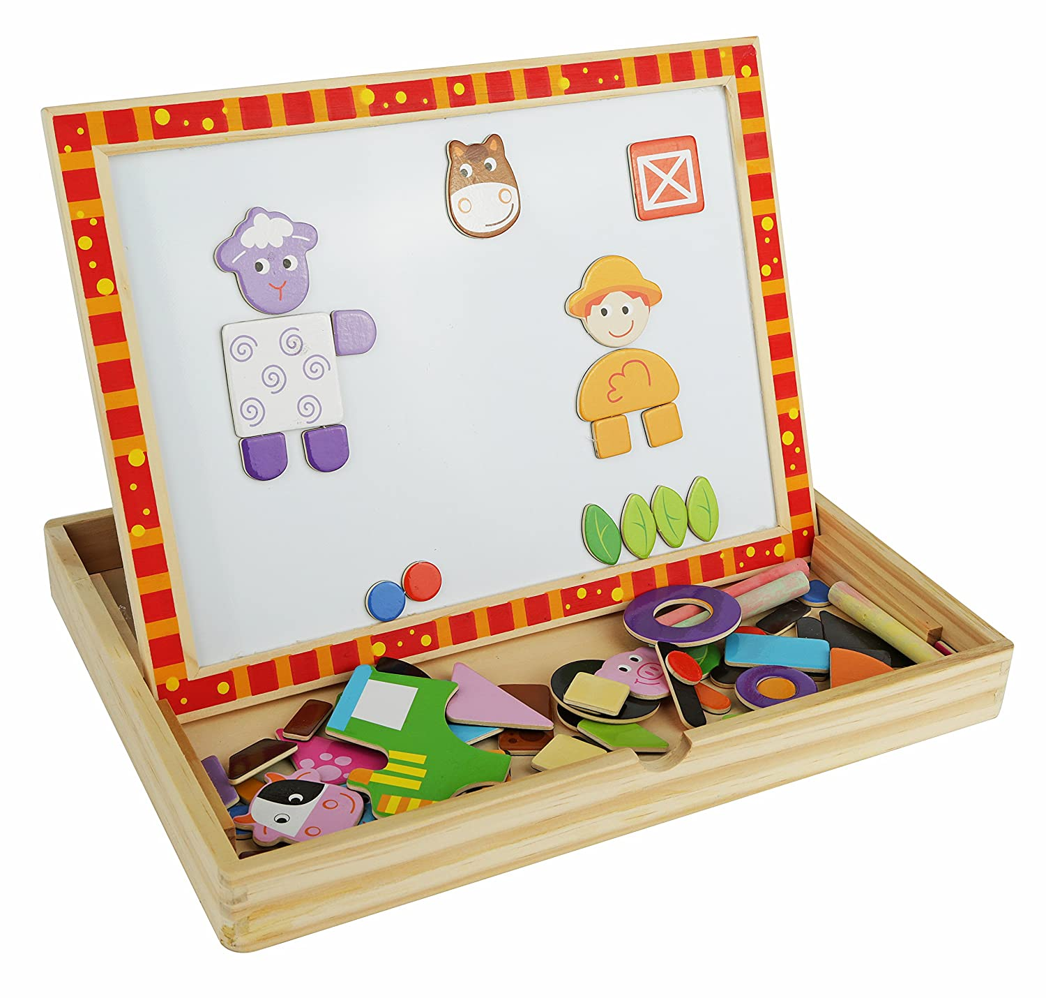 A day on The Farm Magnetic Easel Includes Chalk Eraser and Cute Character Magnets Chalkboard and Dry-Erase Board Solid Wood Educational Toy for Boys and Girls Age 3 Years and Up