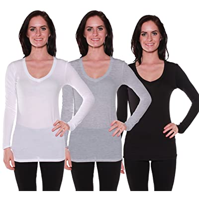 Active Basic Women's Long Sleeve V-Neck T Shirts 3 Pack(Wht/H Gry/Blk-L)